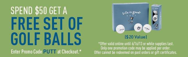 Spend $50 Get A Free Set Of Golf Balls