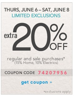 Extra 20% off. Limited Exclusions. Get coupon