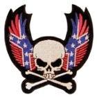 Skull & Crossbones with Rebel Wings Biker Patch