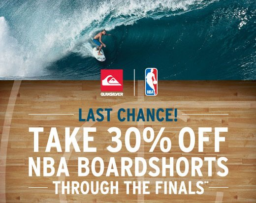 Last Chance! Take 30% off NBA Boardshorts through the finals**