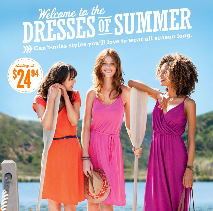 Welcome to the DRESSES OF SUMMER | Can't-miss styles you'll love to wear all season long. | starting at $24.94