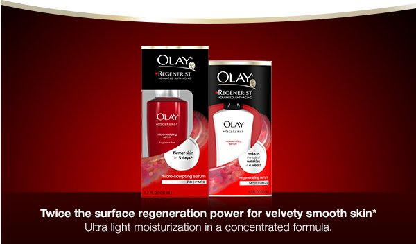 Twice the surface regeneration power for velvety smooth skin* Ultra light moisturization in a concentrated formula.
