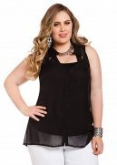 Sleeveless Double Keyhole Button-down Shirt