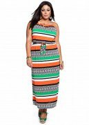 Striped Tribal Print Maxi