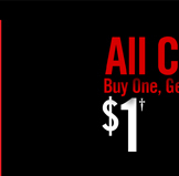 ALL CLEARANCE BUY ONE, GET OEN $1†