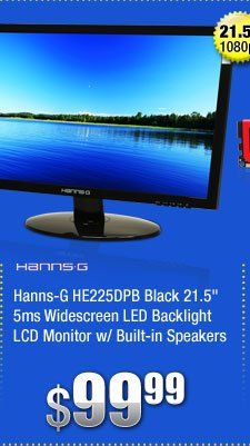 "Hanns-G HE225DPB Black 21.5"" 5ms Widescreen LED Backlight LCD Monitor w/ Built-in Speakers"