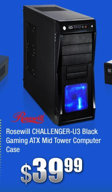 Rosewill CHALLENGER-U3 Black Gaming ATX Mid Tower Computer Case