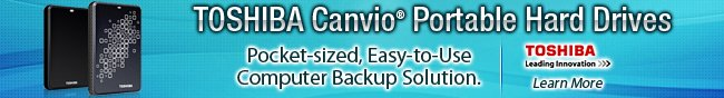 TOSHIBA Canvio Portable Hard Drives. Pocket-sized, Easy-toUse Computer Backup Solution. Learn More.
