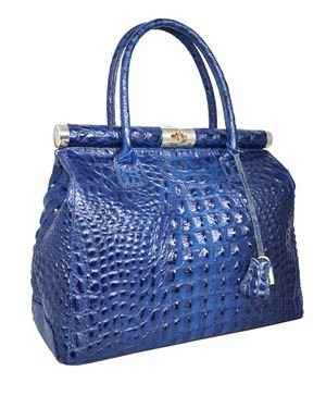 Giulia Crocodile Embossed Genuine Leather Satchel Made In Italy