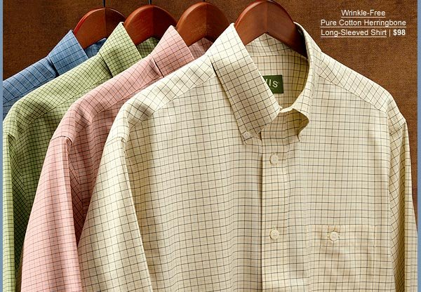 Wrinkle-Free Pure Cotton Herringbone Long-Sleeved Shirt | $98