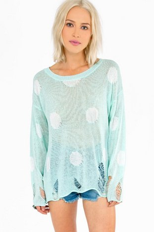 ELAINE RIPPED DOT SWEATER 44