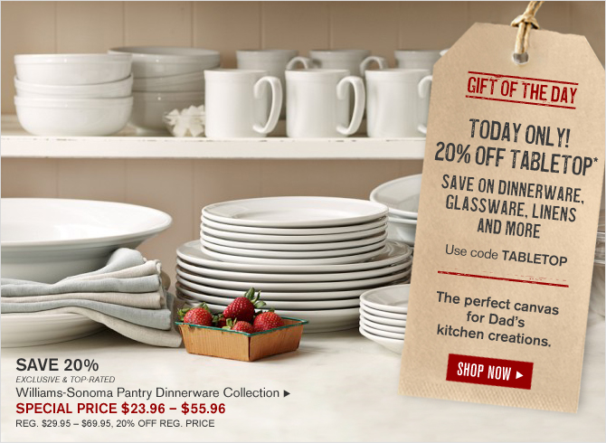 GIFT OF THE DAY - TODAY ONLY! 20% OFF TABLETOP* SAVE ON DINNERWARE, GLASSWARE, LINENS AND MORE - Use code TABLETOP - The perfect canvas for Dad's kitchen creations. - SHOP NOW