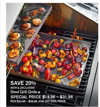 SAVE 20% - NEW & EXCLUSIVE - Steel Grill Grids - SPECIAL PRICE $19.96 – $31.96 (REG $24.95 – $39.95, 20% OFF REG. PRICE)