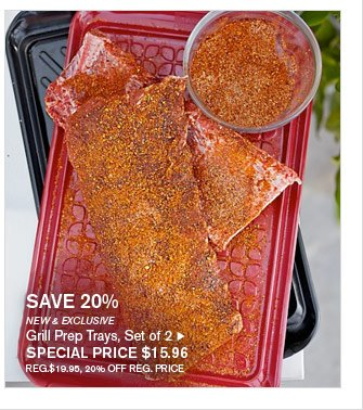 SAVE 20% - NEW & EXCLUSIVE - Grill Prep Trays, Set of 2 - SPECIAL PRICE $15.96 (REG.$19.95, 20% OFF REG. PRICE)