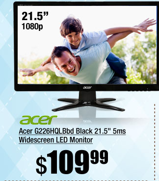 Acer G226HQLBbd Black 21.5 inch 5ms Widescreen LED Monitor