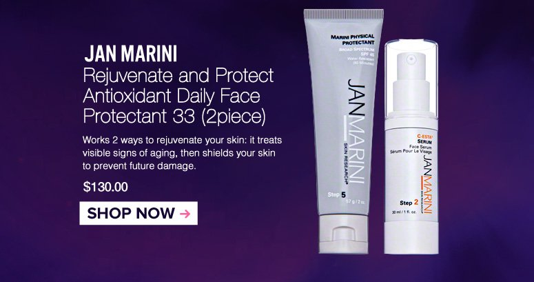 Jan Marini Rejuvenate and Protect Antioxidant Daily Face Protectant 33 (2 Piece) Works 2 ways to rejubenate your skin: it treats visible signs of aging, then shields your skin to prevent future damage. $130.00 Shop Now>>