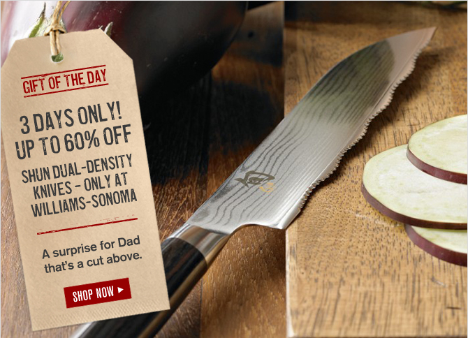 GIFT OF THE DAY -- 3 DAYS ONLY! UP TO 60% OFF SHUN DUAL-DENSITY KNIVES – ONLY AT WILLIAMS-SONOMA -- A surprise for Dad that's a cut above. -- SHOP NOW