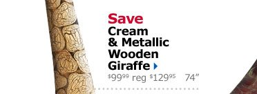 Save Cream & Metallic Wooden Giraffe