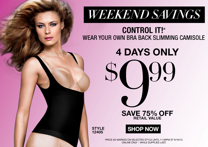 Weekend Savings: Control It Wear Your Own Bra Back Slimming Camisole 4 Days Only $9.99