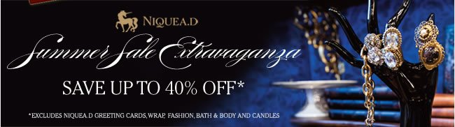 NIQUEA.D Summer Sale Extravaganza  Save Up To 40% Off*  In Boutiques, Salons and at www.papyrusonline.com   *Limited time offer. Excludes NIQUEA.D Greeting Cards, Wrap, Fashion, Bath & Body and Candles
