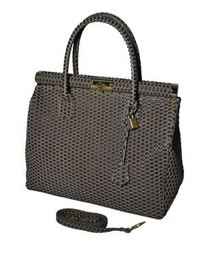Giulia Textured Genuine Leather Padlock Satchel Made In Italy