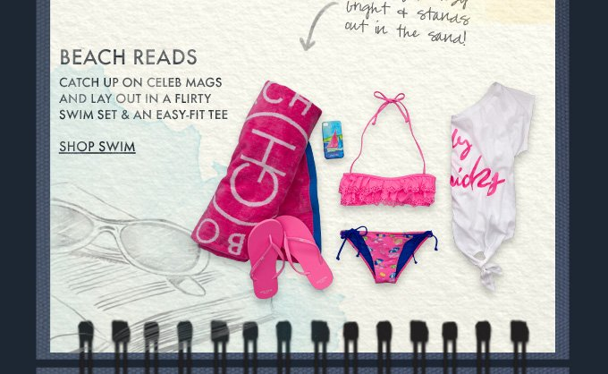 BEACH READS. CATCH UP ON CELEB MAGS AND LAY OUT IN A FLIRTY SWIM SET & AN EASY-FIT TEE SHOP SWIM