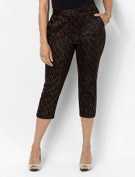 Catherines Plus Size Slimmer Ikat Capri - Women's Size 16W,18W,20W,22W,24W,26W, Black