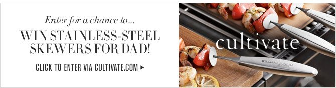 Enter for a chance to... WIN STAINLESS-STEEL SKEWERS FOR DAD! -- CLICK TO ENTER VIA CULTIVATE.COM
