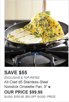 "SAVE $55 -- EXCLUSIVE & TOP-RATED -- All-Clad d5 Stainless-Steel Nonstick Omelette Pan, 9"", OUR PRICE $99.95 -- SUGG. $155.00, $55 OFF SUGG. PRICE"