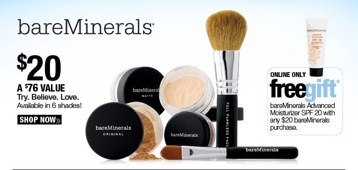 bareMinerals Try. Believe. Love. Kit $20. A $76 Value. Available in 6 shades!
