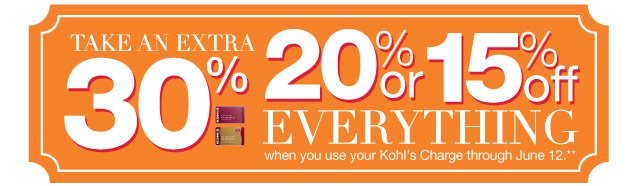 Take an EXTRA 30%, 20% or 15% Off everything  when you use your Kohl's Charge through June 12.