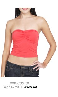 Shop Ruched Front Tube Top in Hibiscus