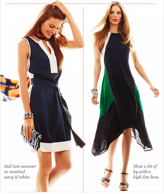 Sail into summer in nautical navy &  white.  Show a bit of leg with a high–low hem.
