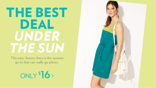 The best deal under the sun. This easy, breezy dress is the summer go-to that can really go places.