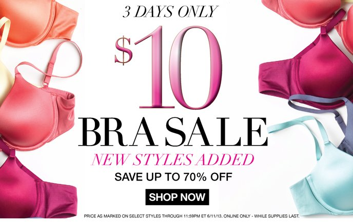 3 Days Only: $10 Bra Sale! New Styles Added - Up to 70% Off