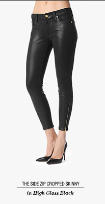 The Side Zip Cropped Skinny in High Gloss Black