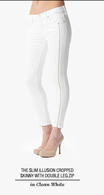 The Slim Illusion Cropped Skinny With Double Leg Zip in Clean White