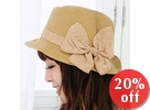 Bow-Accent Straw Hat