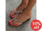 Rhinestone-Accent Tong Sandals