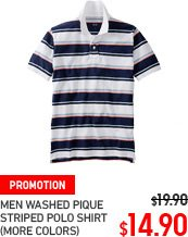 MEN WASHED PIQUE STRIPED POLO SHIRT