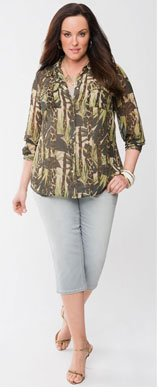 Lane Collection Studded Utility Shirt by Lane Bryant