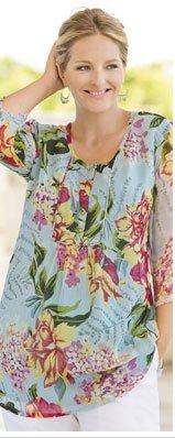 Island Floral Print Tunic by Ulla Popken