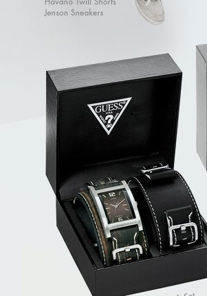 BOLD BUCKLED CUFF WATCH WITH INTERCHANGEABLE SET