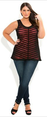 Sheer Stripe with Cami Top by City Chic
