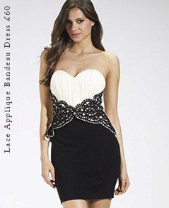 Lace Applique Bandeau Dress