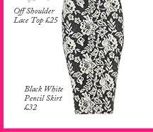 Black White Pencil Skirt