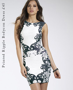 Printed Ripple Bodycon Dress