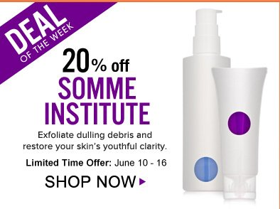 Deal of the Week: Save 20% on Somme Institute Leverages the power of MDT5 to effectively rejuvenate and deliver vital nutrients to the skin. *Offer ends 6/18. Shop Now>>