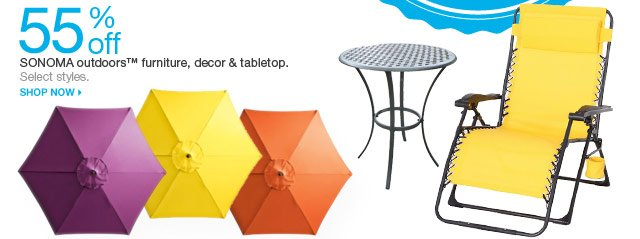 55% off SONOMA outdoors furniture, decor & tabletop. Select styles. Shop now