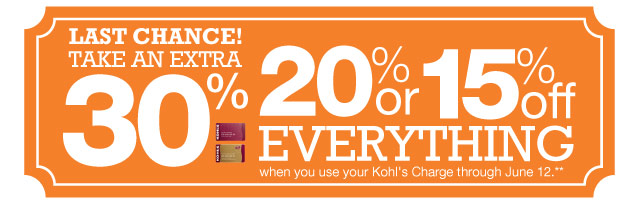 LAST CHANCE! Take an EXTRA 30%, 20% or 15% Off everything  when you use your Kohl's Charge through June 12
